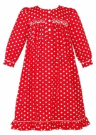 Anavini Girls Red / White Polka Dots Smocked Christmas Day Gown