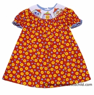 Anavini Girls Red / Yellow / Turquoise Polka Dots Smocked Circus Tents BISHOP Dress