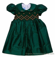 Anavini Girls Rich Green Silk Christmas Dress with Smocked Bodice and Collar