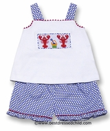Anavini Girls Royal Blue / White Dots Ruffle Shorts with Smocked Lobsters Top
