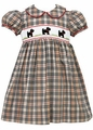 Anavini Girls Smocked Black Scotties on Khaki / Red Plaid Dress with Sash & Collar