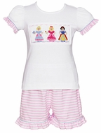 Anavini Girls Smocked Princess Top with Pink Ruffle Shorts - Stripes