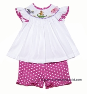 Anavini Girls Smocked Zoo Animals Top with Hot Pink Dots Shorts