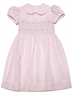 Anavini Girls Special Pink Eyelet Lined Smocked Easter Dress - Matching Big Sister Dress