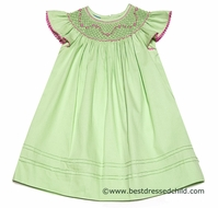 Anavini Girls Spring Green Pique Smocked in Pink Dress - Angel Sleeves