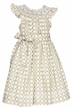 Anavini Girls Tan Khaki / White Dots Smocked Flutter Dress with Sash