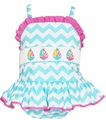 Anavini Girls Turquoise Chevron Stripe Smocked Sailboats Ruffle Swimsuit
