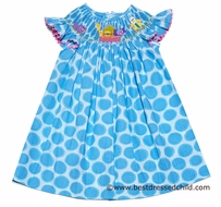 Anavini Girls Turquoise Circles Smocked Noahs Ark Friends Bishop Dress