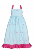 Anavini Girls Turquoise Gingham / Embroidered Pink Whales Halter Sun Dress
