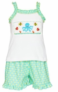 Anavini Girls Turquoise / Green Dots Shorts with Smocked Octopus Top