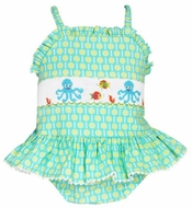 Anavini Girls Turquoise / Green Dots Smocked Octopus / Fish Swimsuit