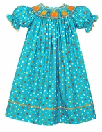 Anavini Girls Turquoise Multi Dots Smocked Pumpkins Bishop Dress