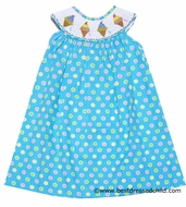 Anavini Girls Turquoise / Pink Multi Dots Smocked Ice Cream Party Dress