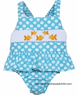 Anavini Girls Turquoise Polka Dot Smocked Gold Fish Swimsuit - One Piece