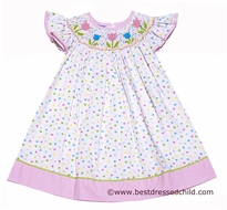 Anavini Girls White / Multi Color Dots Smocked Spring Tulips Angel Sleeve Dress