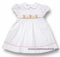 Anavini Girls White Pique Smocked Pink Easter Bunnies / Yellow Chick - Dress with Collar