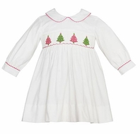 Anavini Girls Winter White Corduroy Smocked Colorful Christmas Trees Dress with Long Sleeves