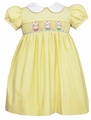 Anavini Girls Yellow / White Dots Smocked Easter Bunnies Baskets Dress - Collar