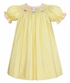 Anavini Girls Yellow / White Dots Smocked Easter Bunny Basket Dress - Bishop