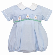 Anavini Infant Boys Blue Gingham Smocked Easter Baby Lambs Bubble