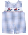 Anavini Infant Boys Blue Plaid Smocked Bulldozer Trucks Shortall