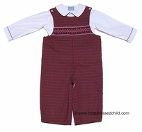 Anavini Infant Boys Christmas Red Plaid Smocked Longall with Shirt