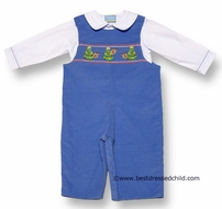 Anavini Infant Boys Periwinkle Blue Corduroy Smocked Christmas Trees & Reindeer - Longall with Shirt