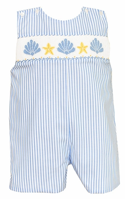 Anavini Infant Boys Smocked Seashells on Blue Striped Shortall