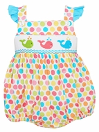 Anavini Infant Girls Fun Dots Smocked Whales on Ruffle Cross Back Bubble