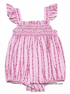 Anavini Infant Girls Pink Floral Striped Lisa Smocked Bubble