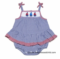 Anavini Infant Girls Smocked Sailboats Blue Gingham Bubble with Ruffle