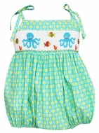 Anavini Infant Girls Turquoise / Green Dots Smocked Octopus Bubble