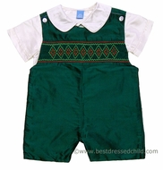 Anavini Infant / Toddler Boys Andrew Rich Green Silk Smocked Shortall with Shirt