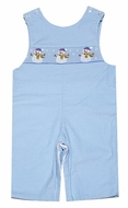 Anavini Infant / Toddler Boys Blue Corduroy Smocked Snowman Longall