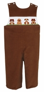 Anavini Infant / Toddler Boys Camel Brown Corduroy Smocked Puppies Longall