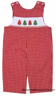 Anavini Infant / Toddler Boys Christmas Red Check Smocked Trees LONGALL