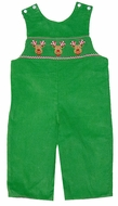 Anavini Infant / Toddler Boys Green Corduroy Smocked Christmas Reindeer Faces Longall