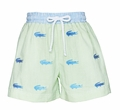 Anavini Infant / Toddler Boys Green Gingham Seersucker / Embroidered Blue Alligator Swim Trunks