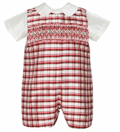 Anavini Infant / Toddler Boys Red Christmas Plaid Smocked Silk Shortall with Shirt