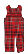Anavini Infant / Toddler Boys Red / Green Christmas Plaid Longall with Smocking