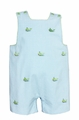 Anavini Infant / Toddler Boys Turquoise Gingham Seersucker / Green Embroidery Whales Jon Jon