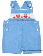 Anavini Infant / Toddler Boys Turquoise Gingham Smocked Mr. Crabs Sunsuit