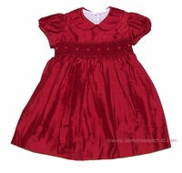 Anavini Infant / Toddler Girls Christmas Red Kailey Smocked Silk Dress with Collar