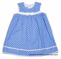 Anavini Infant / Toddler Girls French Blue / White Dot Sleeveless Float Dress with Bow