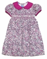 Anavini Infant / Toddler Girls Hot Pink Paisley Corduroy Smocked Float Dress