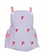 Anavini Infant / Toddler Girls Navy Blue Seersucker / Red Embroidery Lobsters Cross Back Ruffle Bubble