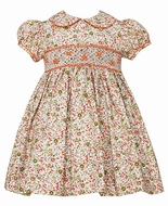 Anavini Infant / Toddler Girls Orange / Green Floral Liberty Print Smocked Dress with Collar