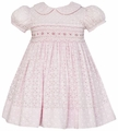 Anavini Infant / Toddler Girls Pink Eyelet Smocked Easter Float Dress