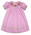 Anavini Infant / Toddler Girls Pink Gingham Smocked Baby Turkeys Bishop Dress