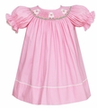 Anavini Infant / Toddler Girls Pink / Tiny Dots Smocked Easter Baby Lambs Bishop Dress
